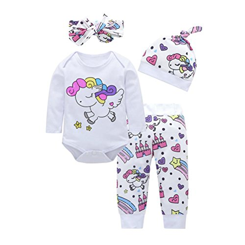 Toddler Baby Girls Boys 4Pcs Clothes Sets for 0-18 Months,Rainbow Horse Cartoon Printed Shirts Pants Hat Hair Strap Outfits (0-6Months, White) -