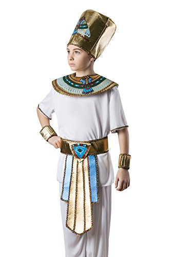 [Kids Boys Pharaoh King Tut Halloween Costume Egyptian God Dress Up & Role Play (6-8 years)] (Pharaoh Headdress)