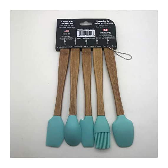 Cook's Corner 5-Piece Silicone/Bamboo Mini Utensil Set 3 Includes Miniature: Basting Brush / Spoon / Pointed Spatula / Spreader / Spatula About 8 inches long. Narrow shape allows reaching food in jars, containers, etc. Removable, food-safe silicone heads for easy cleaning