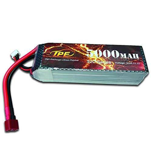 Lithium battery 11.1V 5000mAh 52C 3S Battery for RC Helicopter RC Airplane RC Hobby with Dean-Style T Connector (Hobby Batteries Rc Battery)