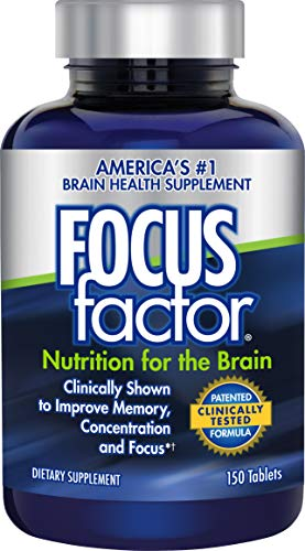 Brain Nutrients (Focus Factor Nutrition for The Brain - Improves Memory & Concentration - DMAE, B6, B12, Bacopa - America's #1 Clinically Proven Brain Booster Supplement (150 Count))