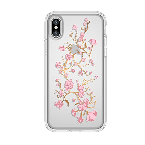Speck 103136-5754  Products Presidio Clear + Print Case for iPhone X, Goldenblossoms Pink/Clear