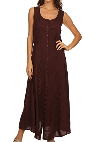 Sakkas 15221 - Maya Floral Embroidered Sleeveless Button Up Rayon Dress - Chocolate - 1X/2X