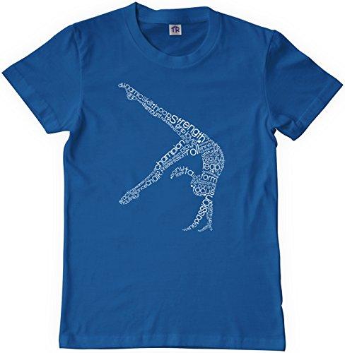 Threadrock Big Girls' Gymnast Typography Design Youth T-shirt M Royal Blue by Threadrock