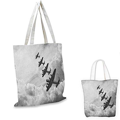 Airplane shopping bag Retro Image of Lancaster Bomber Jets from Battle Royal Air Force in Clouds Plane foldable shopping bag Black White. 12