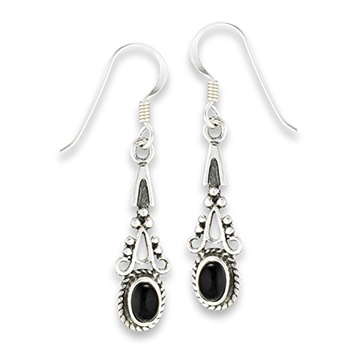 Fancy Bali Bead Black Simulated Onyx .925 Sterling Silver Ornate Drop Earrings