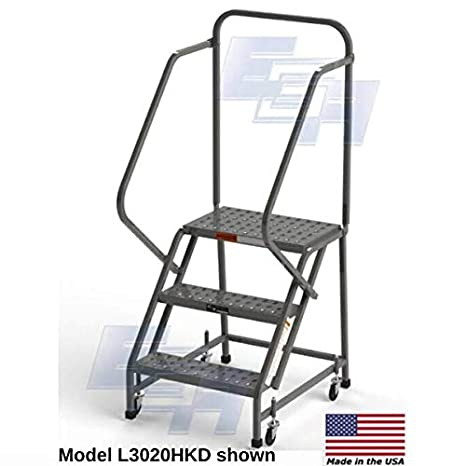 Escalera de acero industrial de 3 peldaños, EGA L3020HKD, de 16 pulgadas de ancho, perforada, gris, 450 libras Capacidad, KD barandilla: Amazon.es: Industria, empresas y ciencia