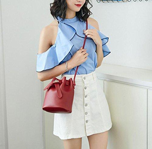 de Gris mujer de Messenger hombro Bolso gratuito Billetero mano Bolso Rojo Trendy de GKKXUE Bolso nuevo para Color literatura YUw5x4qpn