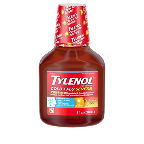 - Tylenol Cold + Flu Severe Flu Medicine, Liquid Daytime Cold and Flu Relief, Honey Lemon, 8 fl. oz