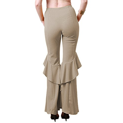 Femmes Haute Ruffle Taille Kaki Pantalon Bozevon Ourlet Évasé 4Eadd