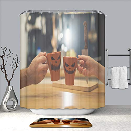 BEICICI Shower Curtain and Bath mat Rug A Couple Celebrating Halloween Holding a Mug with a Drink with People Scary Pumpkin Jack o Lantern Custom Stylish,Waterproof,Bathroom Set]()