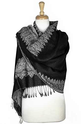 Paskmlna Border Pattern Double Layered Reversible Woven Pashmina Shawl Scarf Wrap Stole (003#22black/white) ()