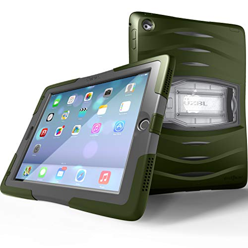 UZBL iPad 9.7 Case 2018/2017, Heavy Duty [Shockwave] Full-Body Rugged Protective Case with Built-in Screen Protector and Removable Stand for Apple iPad 5th / 6th Gen, Army Green
