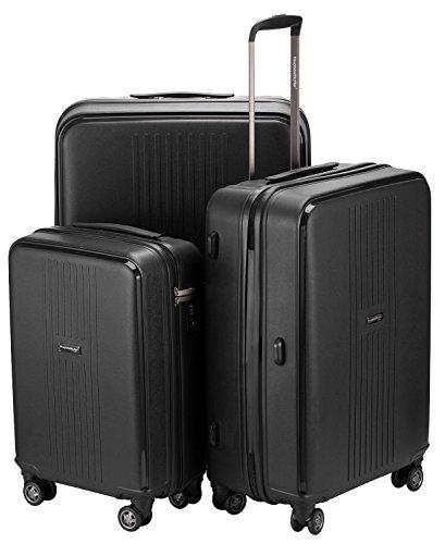 HAUPTSTADTKOFFER® 3er Kofferset (37, 71 & 110 Liter) · Handgepäck + Reisekoffer · F-HAIN · TSA Schloss · Farbe: SCHWARZ MATT