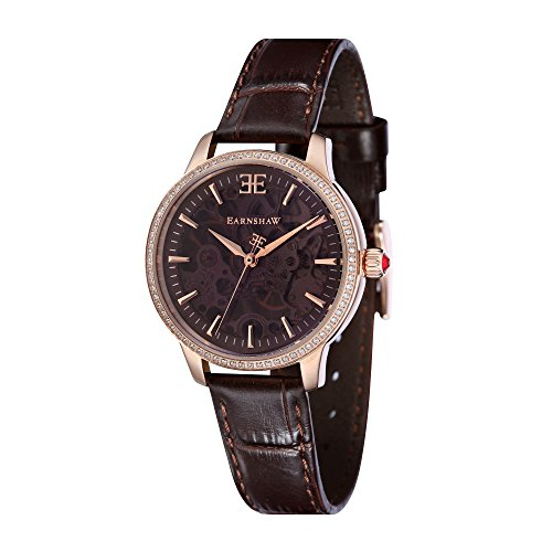 Thomas Earnshaw Women's 'Lady' Mechanical Hand Wind Stainless Steel and Leather Casual Watch, Color:Brown (Model: ES-8056-03)