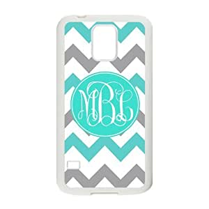 Zig Zag SkyBlue and Gray Chevron Personalized Monogrammed Phone Case Samsung Galaxy S5 Best Cover (Black and White)