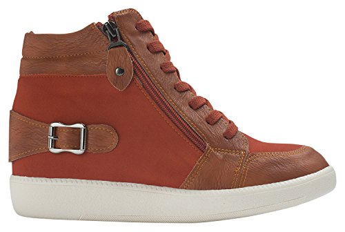 Annakastle Dames Buckled Mid-sneaker Sneaker Fashion Wedge Trainer Roest