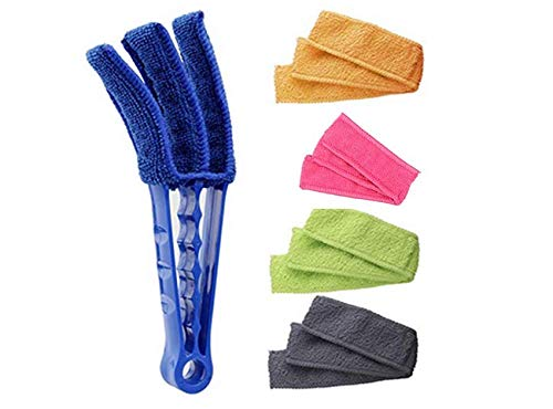 Window Blind Cleaner Duster Brush Multipurpose Blind Duster With 4 Microfiber Sleeves Duster Cleaning Tool for Blinds Shutters Shades Air Conditioner Vent Covers (Microfiber Blind Cleaner)