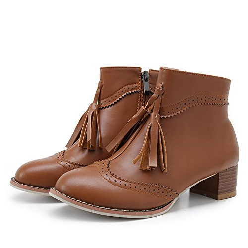 AgooLar Women's Solid PU Low-Heels Zipper Round Toe Boots Brown ypyce10