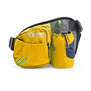 Multipurpose Waist Bag for Men and Women, Sports Travel Hip Bag with Water Bottle Holder and Cell Phone Pocket-Yellow