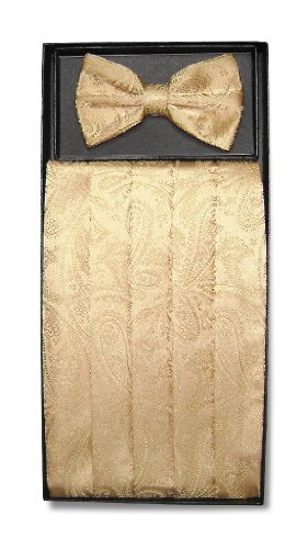 Cumberbund & BowTie GOLD Color PAISLEY Design Men's Cummerbund Bow Tie Set (Gold Cummerbund)