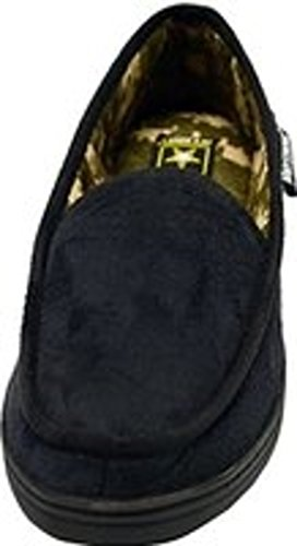 US Army Strong Offical Premium Men's Slippers Indoor Outdoor Sole Lined Slippers Gift Boxed (Small (7-8), Black-Camo Lined)