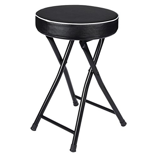 Padded Folding Stool - Foldable Stool - Cushioned Collapsible Stool, Black, 12 x 19.2 x 12 Inches (Small Bathroom Stool)