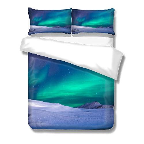 Pealrich Set of Three On The Bed Aurora On The Snowy Mountains Starry Sky Green Blue Colorful Natural Borealis Home Bedding Duvet Cover Set Bed Sheets Set Soft Comfortable Breathable Queen Size