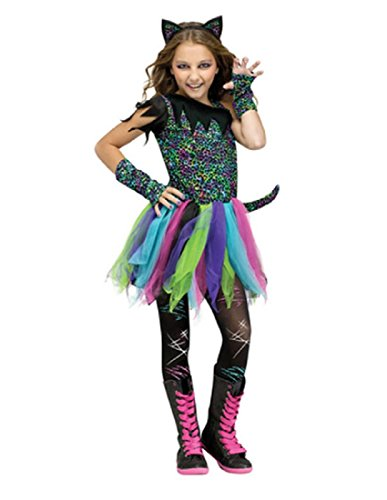 Wild Halloween Costumes (Wild Cat Rainbow Animal Child Halloween Costume, Black / Blue / Pink, Medium)