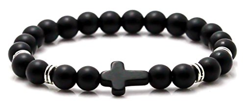 Jenhianeck Fashion Alloy Cross 8MM Beads Bracelet Bangle(Black) (Black Cross Religious)