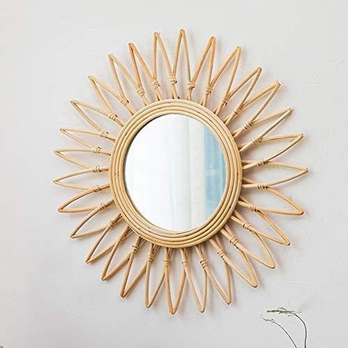 Nordic Decorative Round Metal Hanging Wall Mirror in Sunburst Design for Living - Standing Rattan Bathroom Mirrors