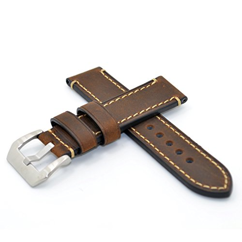22mm Dark Brown Italy Calf Leather Handmade Watch Band Strap for Regular Wrist Watch-LG Urbane