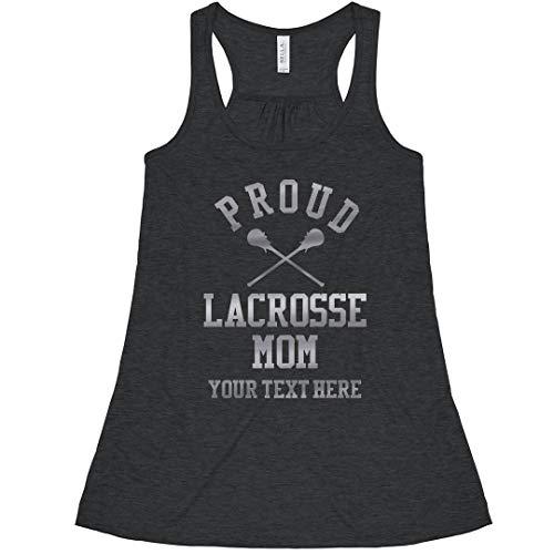 (Proud Custom Silver Lacrosse Mom: Bella Ladies Flowy Metallic Racerback Tank)