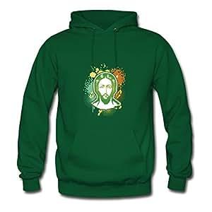 Jesus Print Women Round-collar Sweatshirts - X-large - Electric Green