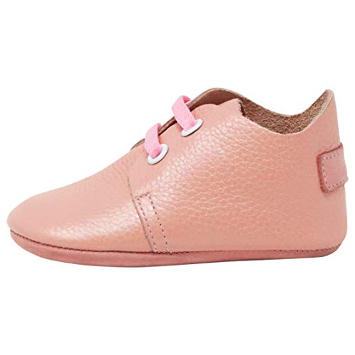 (Ella Bonna Mini Oxford Shoes | Cowhide, Full Grain Leather Sole | Flexible | Handmade Designer Moccasins | for Baby Boys Girls Toddlers (US 2 M, Pink) )