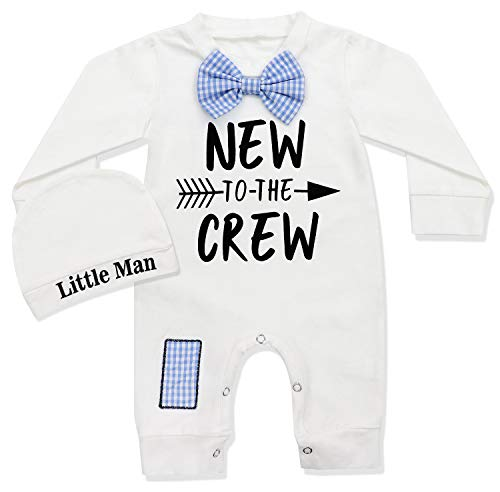 Newborn Baby Clothes New to The Crew Print Long Sleeve Romper Jumpsuit +Little Man Hat 2PCS 0-3 ()