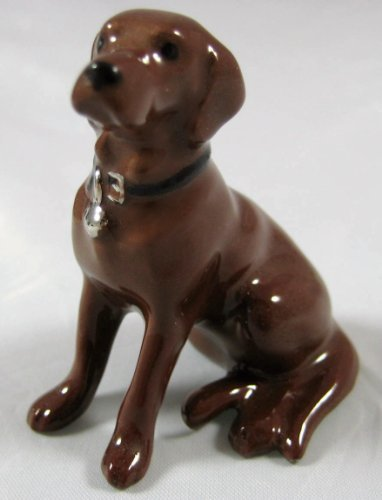 LABRADOR RETRIEVER Dog Chocolate Lab Sits w/Black COLLAR Miniature Figurine Ceramic HAGEN-RENAKER 888C by Hagen (Black Labrador Retriever Figurine)