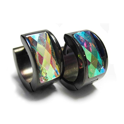 OAKKY Jewelry Men's and Women's Colorful Crystal Black Stainless Steel Studs Hoop Earrings, Rainbow