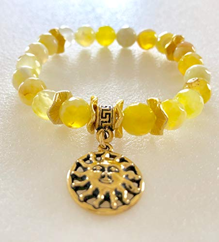 Yellow Agate Sun Bracelet, Sunny Lemon Yellow Crackle Agate, Sun Charm Bracelet, Sunshine Bracelet, Sun Worshipper Bracelet, Healing Gemstone.