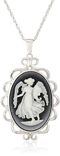 """Sterling Silver Black Agate Angel Cameo Pendant Necklace , 18"""""""
