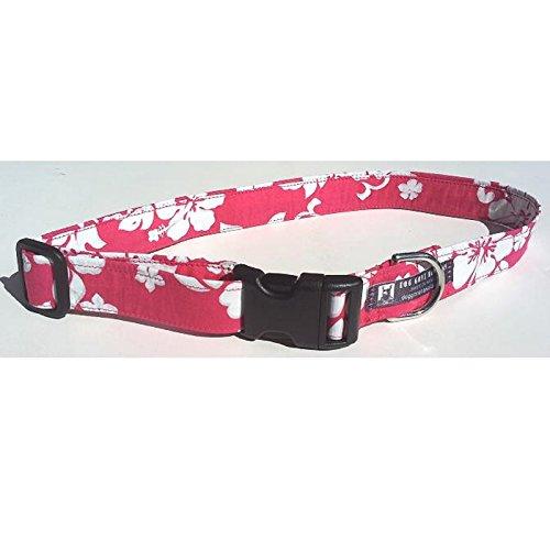 Hawaiian Fabric Over Webbing Adjustable Dog Collar--Manoa Garden Hand Made in Hawaii with Aloha