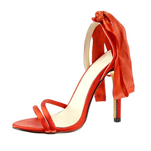 Angkorly - Chaussure Mode Escarpin Sandale stiletto sexy Chic femme noeud Talon haut aiguille 11 CM - Rouge