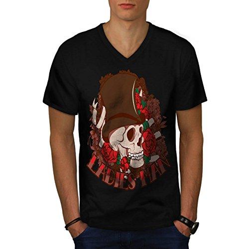 Ladies Man Skull Romantic Gent Men M V-Neck T-shirt | Wellcoda (Birds Of War Costume)