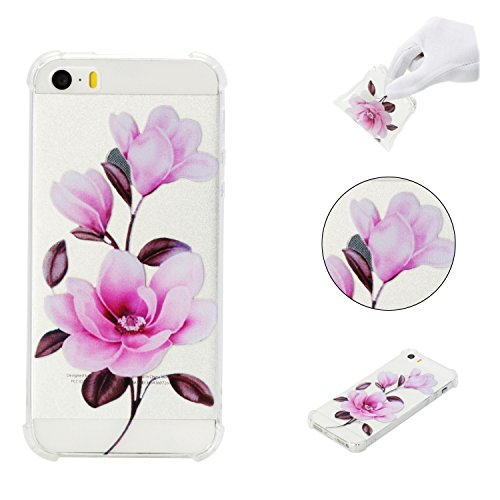 iPhone 5SE Case,iPhone 5S Case,AMYM Amusing Whimsical Painted Design Transparent Shockproof TPU Soft Case Rubber Silicone Cover for iPhone 5SE/5S/5C/5 (Flower)