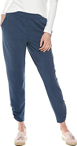 Coolibar UPF 50+ Women's Café Ruche Pants - Sun Protective (Large- Denim Blue Heather)