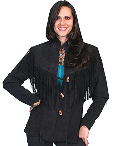 Scully Women's Fringe Suede Leather Jacket Black XX-Large by Scully