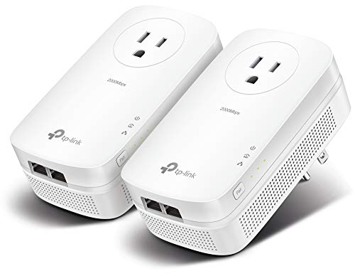 TP-LINK AV2000 Powerline Adapter Kit, 2-Port, Gigabit w/Power Outlet Pass-Through, up to 2000Mbps (TL-PA9020P KIT)