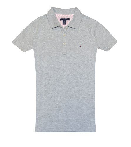 Tommy Hilfiger Women Classic Fit Logo Polo T-Shirt (M, Grey)
