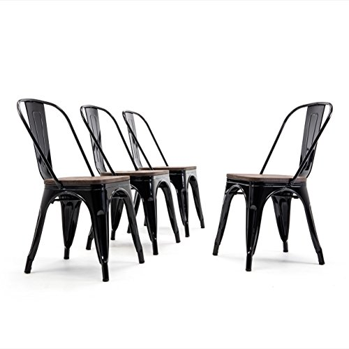 Metal Industrial Stackable Bistro Dining Chairs Set of 4 Wood Seat Cafe Bar Restaurant Stool Black (Black Wood Chairs)