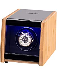 Single Watch Winder with Led Light, High-Gloss Craftsmanship Bamboo Shell, 4 Setting Modes and Super Quiet Motor